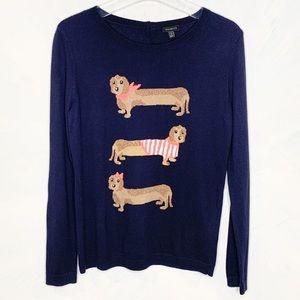 Talbots Hotdog Weiner Dogs Navy Sweater